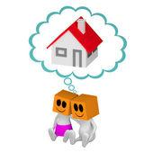 Cople 3d soñando con casa — Foto de Stock