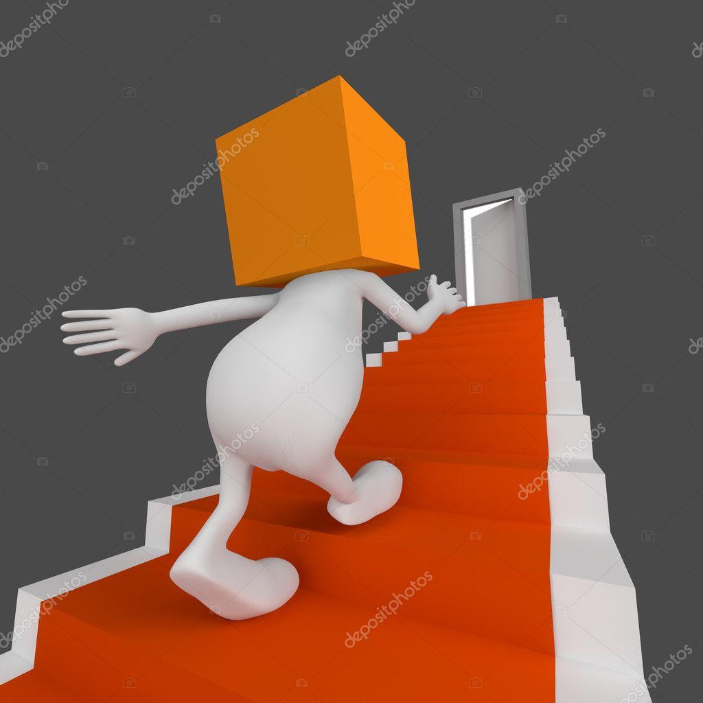 3d 男人与多维数据集橙色头小可爱与打开的门楼梯走上结束— photo by