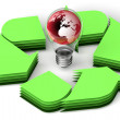 Earth globe in bulb recycle concept — Stock Photo