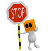 3d little cute Man with cube orange head with stop traffic sign — Zdjęcie stockowe