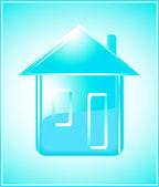 Silueta de casa pura sobre fondo azul — Vector de stock