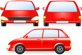Red isolated car silhouette — Stock Vector