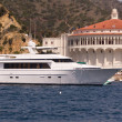 Mega Yacht at Avalon Harbor — Stock Photo