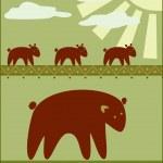 彼女の子供を持つ母熊 — ストックベクタ