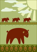Mother bear with her kids — Stock Vector