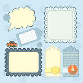 Boy's frame and tags collection for scrapbook — Stock Vector