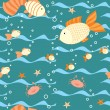 Royalty-Free Stock Vector Image: Deep water seamless pattern with a fishes