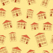 Stock Vector: Brown little funny house seamless pattern