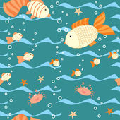 Deep water seamless pattern with a fishes — Stock Vector