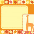 Stock Vector: Horizontal frame with giraffe