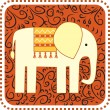 Stock Vector: Elephant on ornament backgroung