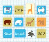 Wildlife icons set — Stock Vector