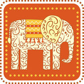 Ornament Elephant on a square background — Stock Vector