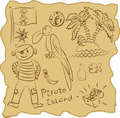 Outline Pirate Collection — Stock Vector