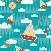 Sailor's dream seamless pattern — Stock Vector
