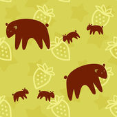 Brown Bear family seamless pattern — Stock Vector