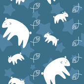 Polar bears family on night sky seamless pattern — Cтоковый вектор