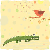 Little crocodile listen a bird singing — Stock Vector