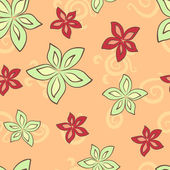 Seamless pattern with green and red lily — ストックベクタ