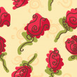 Doodle bright roses seamless pattern - Stock Vector