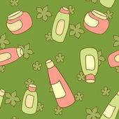 化粧品ボトルのシームレスなパターン ベクトル — ストックベクタ