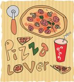 Hand drawn pizza lover colored illustration — Stock Vector