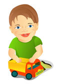 A boy with a toy car — Stock Vector