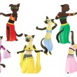 Cats.Oriental dancers — Stock Vector
