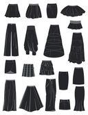 Un conjunto de faldas — Vector de stock