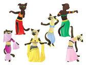 Cats.Oriental dancers — Stock Vector