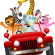 Stock Vector: African animals in red car