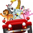 African animals in red car - Stock Vector