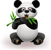 Funny panda eating bamboo — Stock Vector