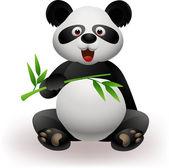 Funny panda eating bamboo — Stock Vector