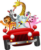 African animals in red car — Stock Vector