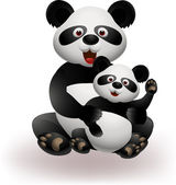 Mother and baby panda — Stock Vector