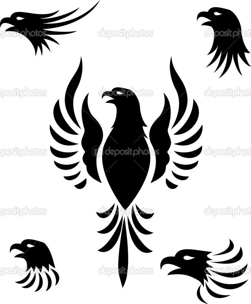 Vector illustration of Eagle head tattoo — Stock Vector #11057637