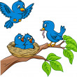 Bird family - Imagen vectorial