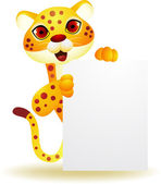 Cheetah cartoon with blank sign — Stock Vector