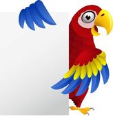 Macaw With Blank Sign — Stock Vector