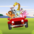 African animals in red car — 图库矢量图片