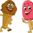 Ice cream cartoon character — Imagen vectorial