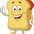 Slice of bread cartoon character - Stock Vector