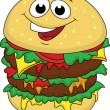 Big burger cartoon character — Stock Vector