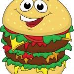 Big burger cartoon character — Stock Vector