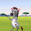 Funny cartoon zebra standing — Stock Vector