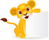 Baby lion cartoon with blank sign — 图库矢量图片