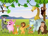 Funny safari animal cartoon — 图库矢量图片