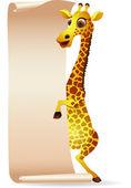 Giraffe with blank scroll paper — Stock Vector