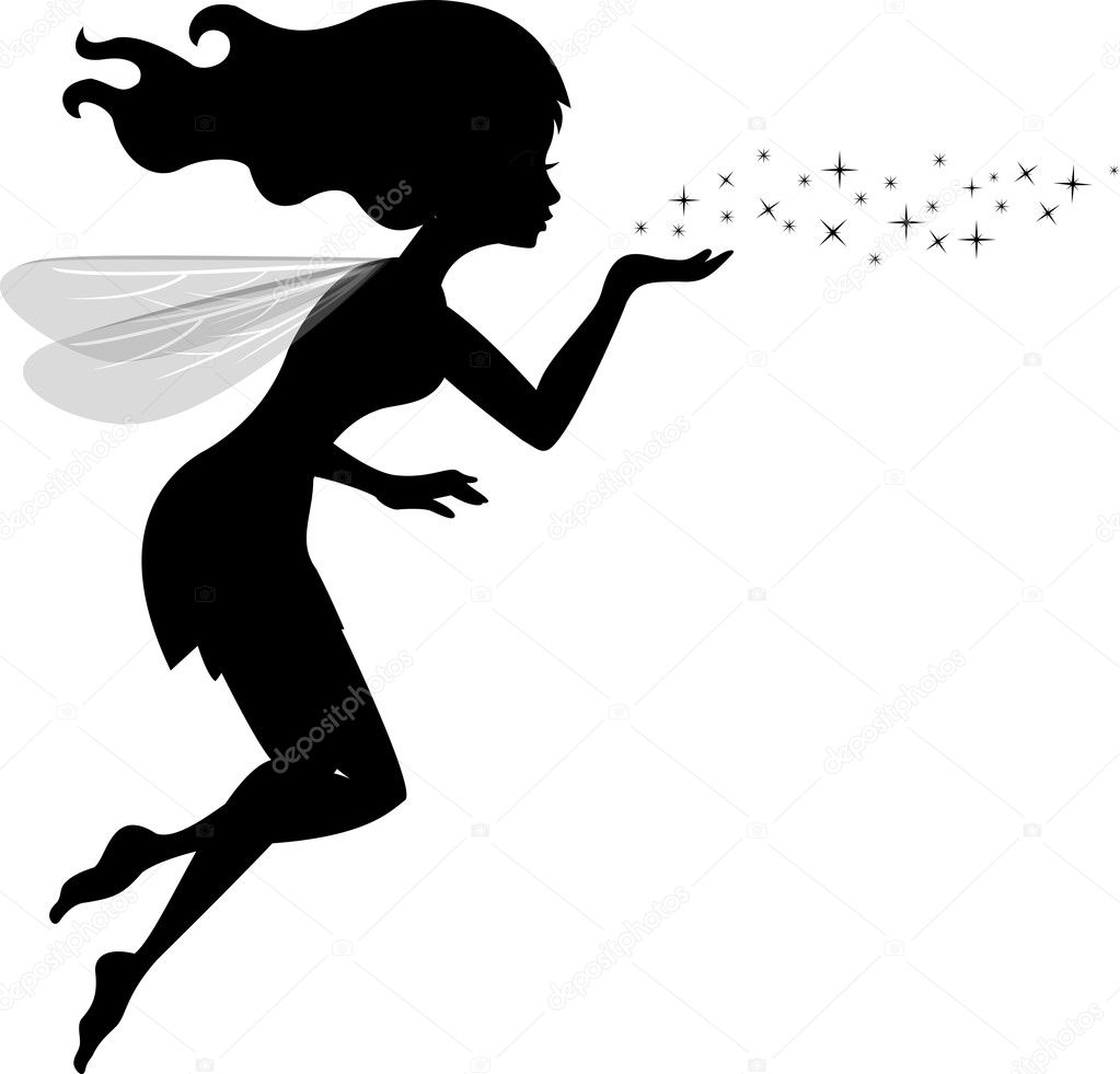 Vector Illustration of Beautiful love fairy sanding blowing magic spell  — ベクター素材ストック #11906038